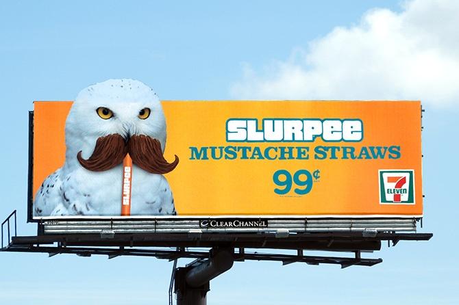 7-Eleven Owl Mustache Straw Billboard