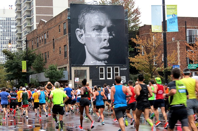 Nike Billboard with Chicago Marathon Runners