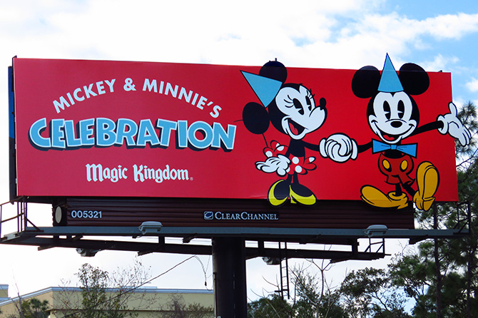 Billboard Celebrating 90 Years of Mickey & Minnie Mouse