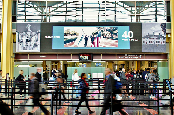 Samsung Celebrates 40 Years with Airport Ad