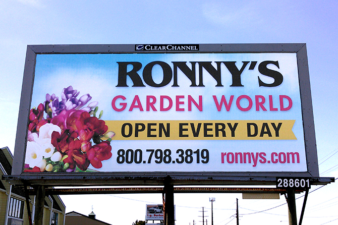 Ronnys Garden World Billboard