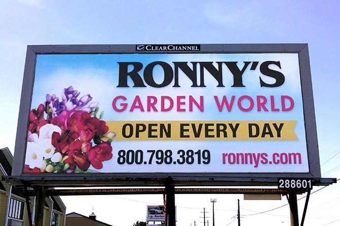 Ronnys Garden World Billboard