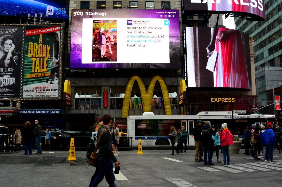 TCU #FrogsAndTheCity NY Billboard